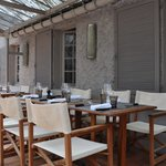 Outdoor seating at La Salamandre