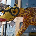 Giraffe at entrance of Legoland