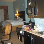  Kitchenette, ceiling fan &amp; baby enjoying the king size bed in our room