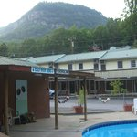  pool / tiki bar / back view of Geneva Motel