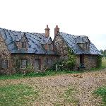 Two of the cottages of Lark Rise. Inside is just scaffolding. It felt like a ghost town.