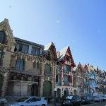 Mers les Bains with its Art Nouveau houses and in the background, the church of nearby Le Trépor