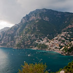 The village of Positano and the cliffs of the Amalfi Coast