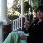 Relaxing on the porch with a cup of tea.