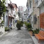  The view of the quite sidestreet, in which is the Lighthouse hostel. The orange bank to the righ