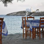 Lebesis taverna looking out to Pangia Chrisopigi.