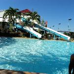 Huge pool with slides