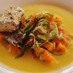 One example of the excellent food we were served at the hotel. Local fish with passion fruit vin