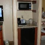 Another alcove with fridge & microwave