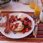 Hearty breakfast at SunCatcher Inn