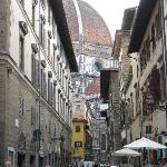 View of Duomo down street