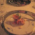 Amuse Bouche- Potato cake with smoked salmon and caviar