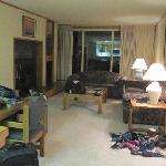 Living area w/ full size pull out couch, fireplace, dining table for six