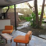  The patio seating area