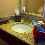 The bathroom vanity is really small.  Okay for guys.  I don't think so for gals.