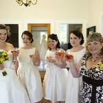 A bridal party getting ready for the big moment.
