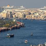 view from rooftop on Dubai creek