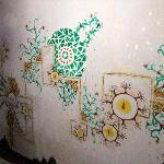  Painted walls in the room we stayed in.