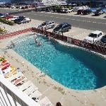 A view of the swimming pool from the balcony
