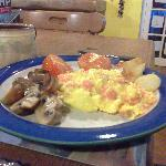 Scrambled eggs and salmon breakfast