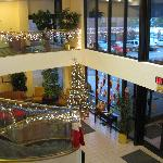 lobby with holiday decorations