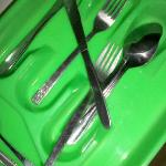 Dirty cutlery on arrival