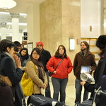 Tour stop inside Marshall Fields building.