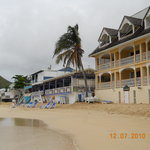 View of restaurant from beach side..blue chairs