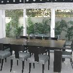 Dining room overlooks a garden