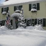 Picture of the front of the B & B after the snowstorm of 1-12-11