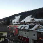 view from balcony looking towards main lift & slalom race course
