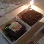 Warm brownie and sticky toffee pudding!