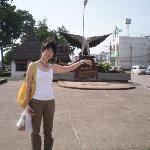 When you see the eagle statue, you can stop the transport and just walk about 100m to the Hotel