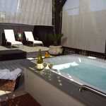 private patio with spa tub
