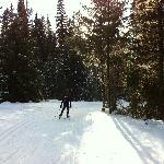Rounding the corner before the biathlon range