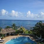 View of the pool and Caribbean Sea