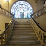 Marble staircase with stained glass window at Urdinola Hotel in Saltillo, Mexico.