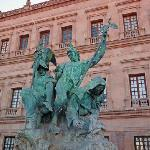  Sculpture of 3 historical forces in Mexico: Indian, Spanish Conquistador, and Catholic monk.