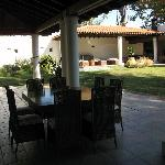 The guesthouse's veranda and garden