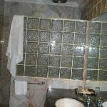 Bathroom against the showerarea