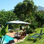 The pool, garden and view of the mountains