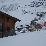 view of our room, piste no. 3 to the right, cervinia below