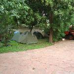 That was our tour truck and our tents on the grounds of the Sleeping Camel.