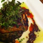 tonights special - grilled salmon over black bean cake.  absolutely AMAZING!