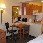 Kitchen and work desk area