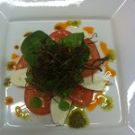 One of our starters-A Tomato and Mozzarella Salad with Red and Green Pesto