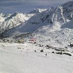 Hotel location within Passo Tonale, looking at it from the Nortern slopes