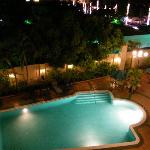 The hotel pool at night - viewed from our room