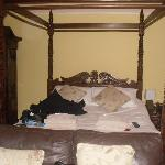 The bed, sorry about the bits and bobs on there