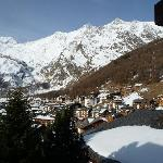 View of Saas Fee from Alphubel balcony